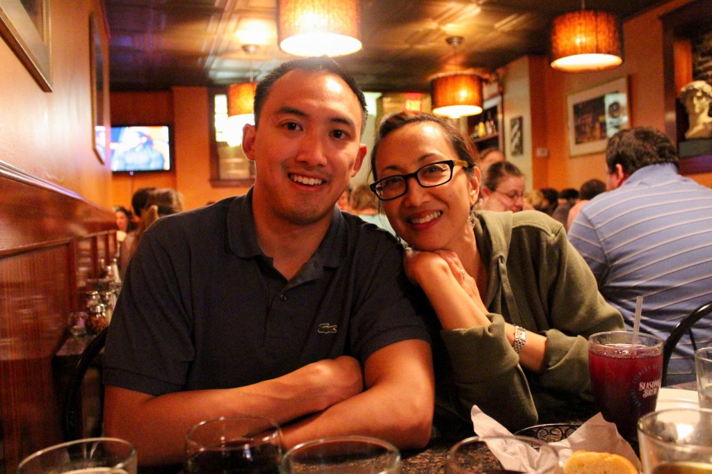 My lil' bro and mama at Al Dente Restaurant, North End, Boston