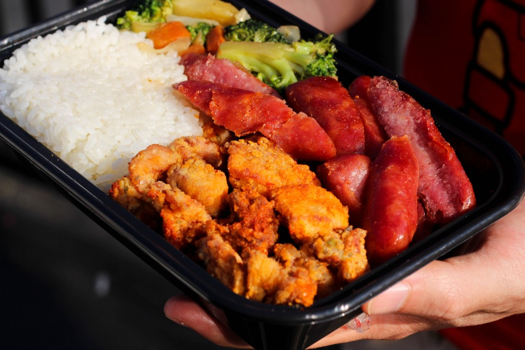 Taiwanese sausage & popcorn chicken plate from The Mighty Boba Truck