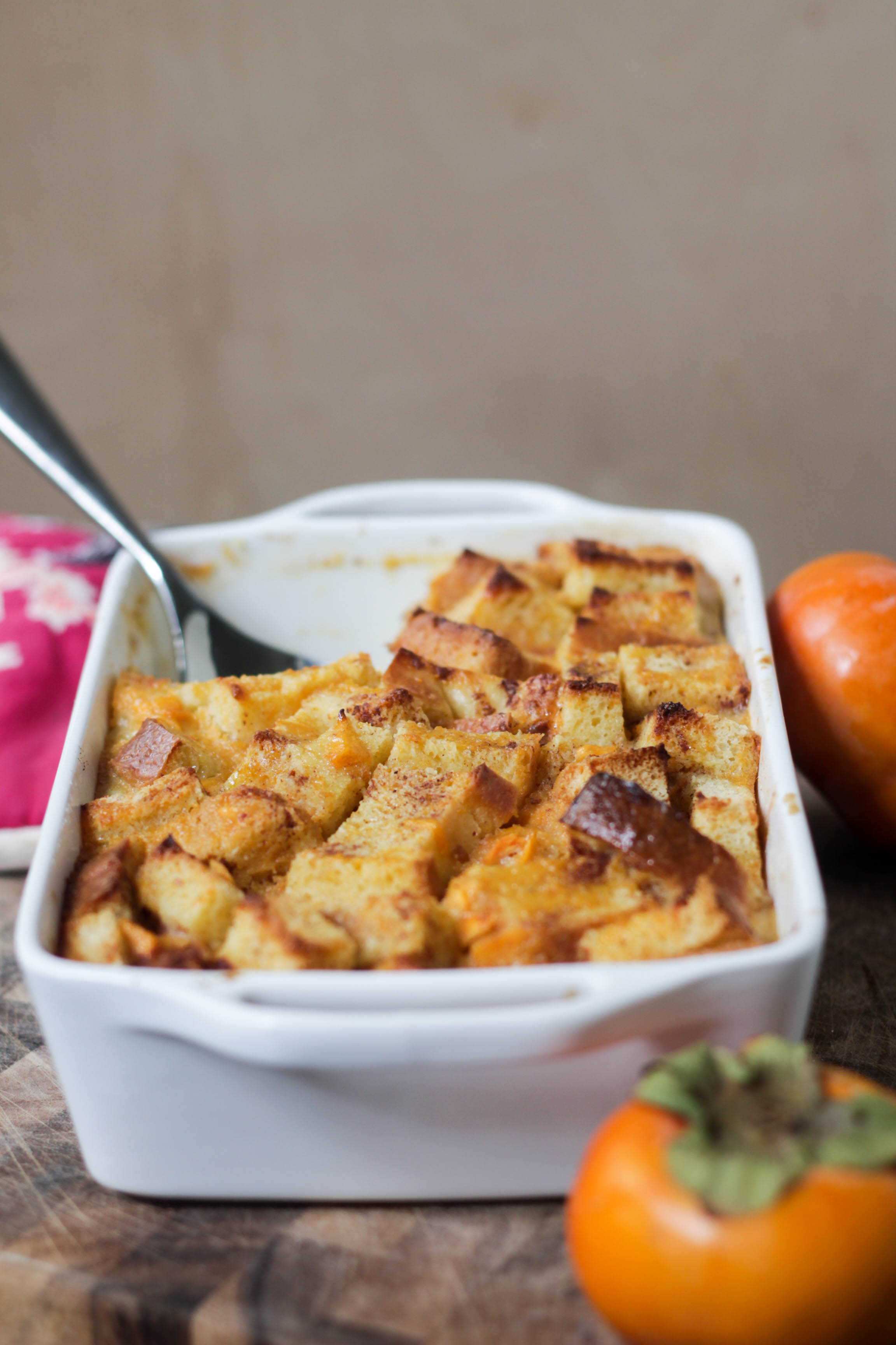 Persimmon & White Chocolate Bread Pudding | umami holiday.